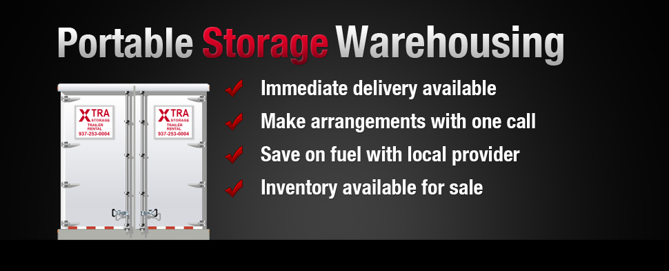Portable storage warehousing trailers available for delivery and rental from Xtra Storage